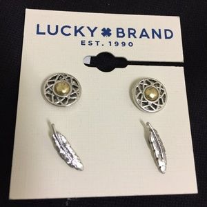 Lucky Brand Feather Stud Earring Set